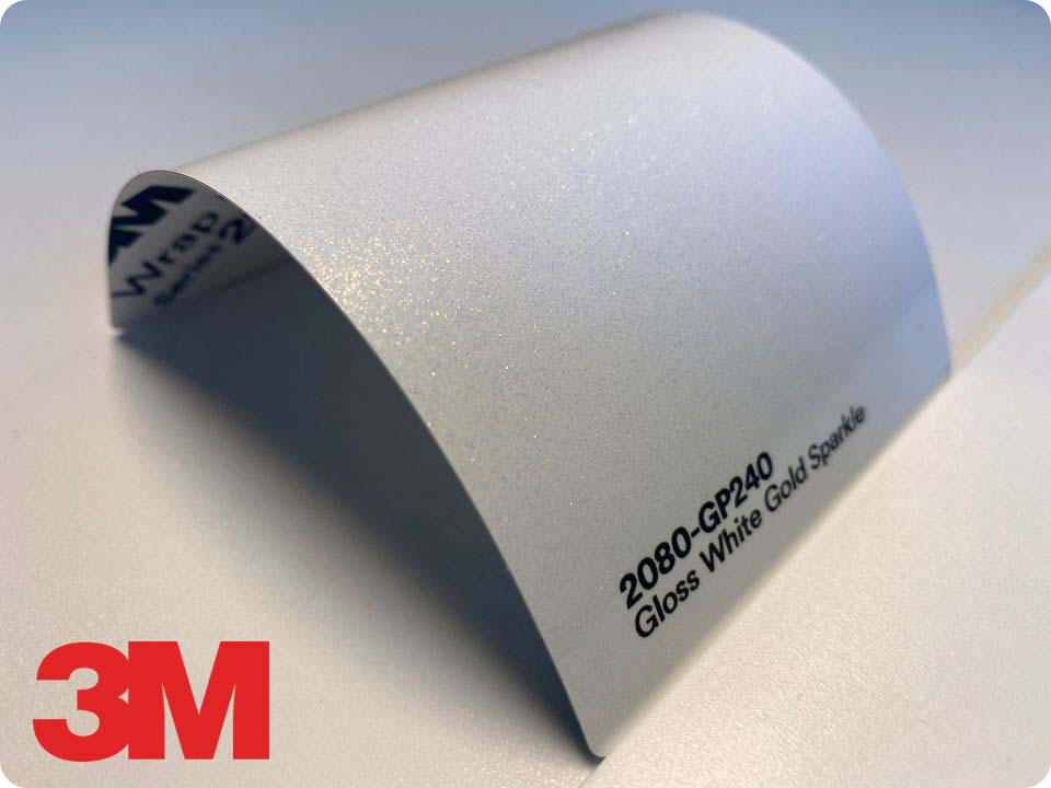 3M Wrap Film Series 2080-GP240, Gloss White Gold Sparkle